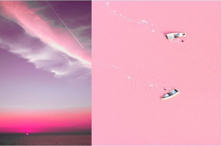 place pink sky pink lake retba senegal favorite places spaces pinterest. Black Bedroom Furniture Sets. Home Design Ideas