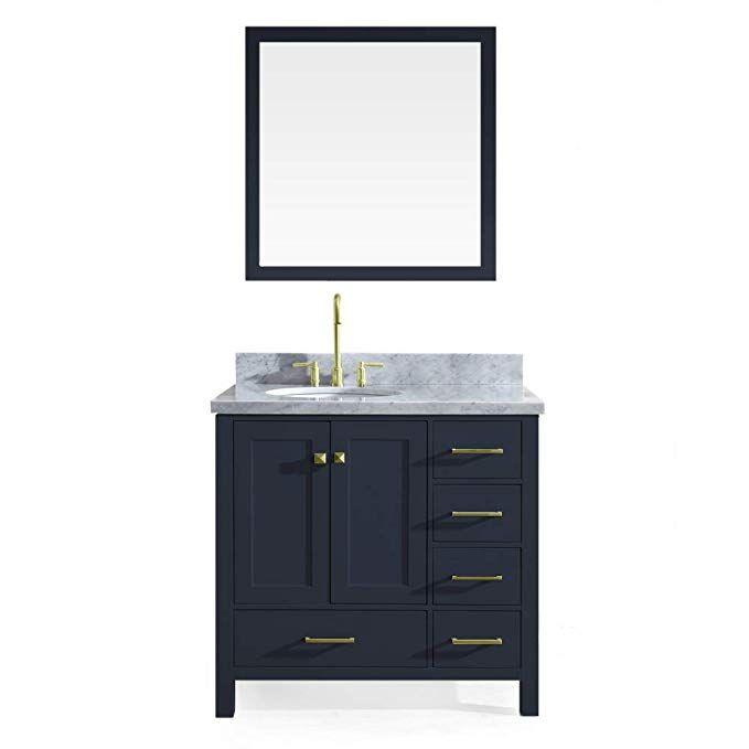 Ariel Cambridge 37 Inch Midnight Blue Bathroom Vanity Set With