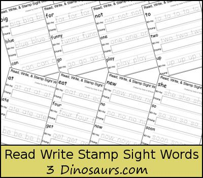Free Sight Word Read Write & Stamp Worksheets