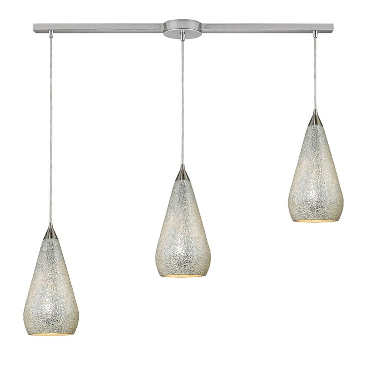 Curvalo 3 Light Pendant In Satin Nickel And Silver Crackle Glass 546-3L-SLV-CRC