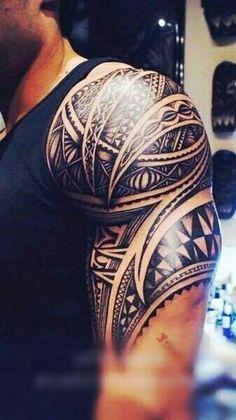 Awesome Mens Half Sleeve Tribal Tattoo
