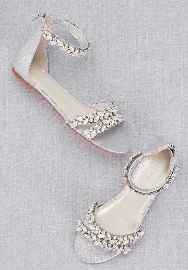 Crystal Embellished Ivory Wedding Flats Ankle Strap Sandals Flat Bridal Shoes Flats Bridal Sandals