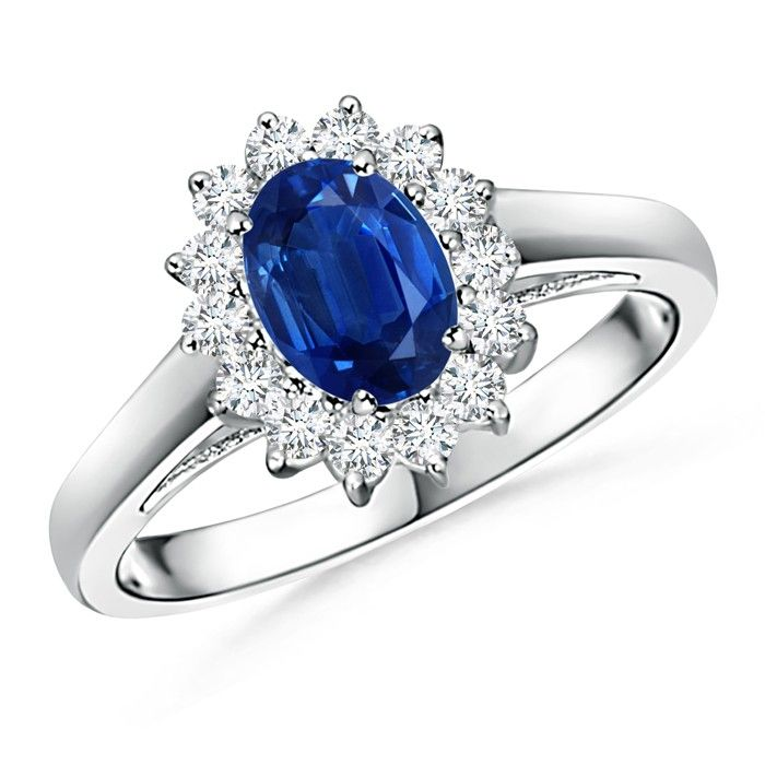 Angara Emerald-Cut Blue Sapphire Ring with Trio Diamonds in Platinum OyWaWhma