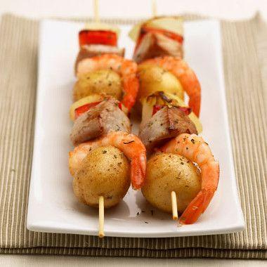 Aardappelkebabs met zeevruchten