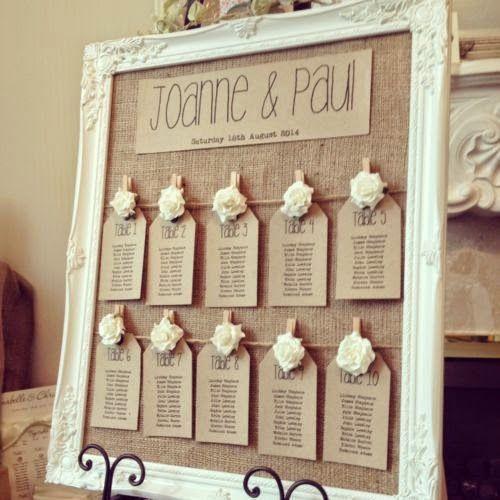 Bonito tablón organizador de boda rústico