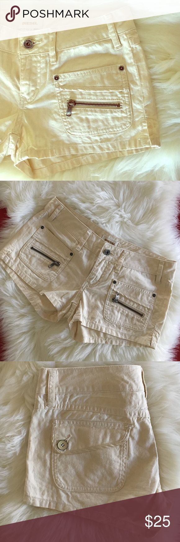 Diesel summer jeans shorts size 26 Diesel summer shorts. Front zipper pockets and back button pockets. Diesel Shorts Jean Shorts