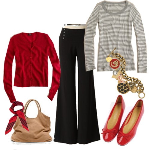 Red cardigan and grey stripes