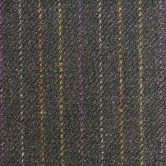 Cheviot Twill Wool Fabric Chocolate and black wool upholstery fabric with faint Orange, White and Fuchsia pinstripe.