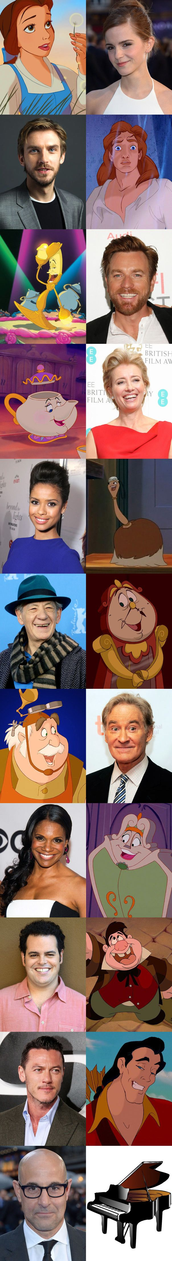 The cast of Disney's live-action Beauty and the Beast movie (March 2017).