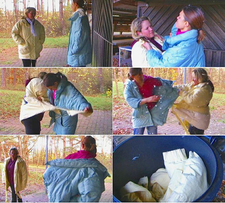 Autumn atmosphere: Eine spontane Verabredung zwischen Tina und Kathrin  zu einer Rauferei untereinander. Beim Zusammentreffen gehen sie sich sofort und wortlos an den Kragen und zerreißen sich die Daunenjacken. Genauso wortlos, wie sie kämpften, trennen sie sich wieder.  Cliplänge: 4,37 Minuten
