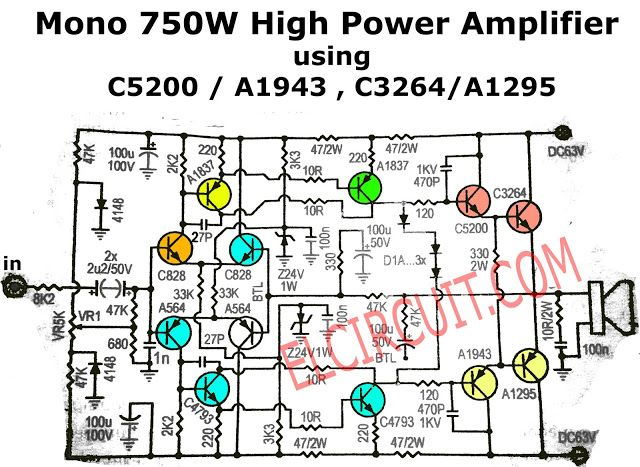 750w mono power amplifier schematic diagram audio. Black Bedroom Furniture Sets. Home Design Ideas