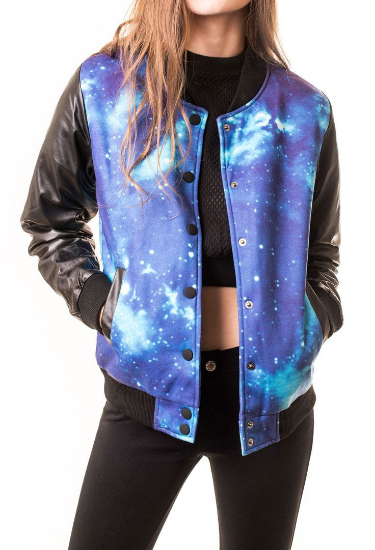 Fusing two of our favorite trends: athletic inspiration in eye catching prints, meet our faux leather galaxy bomber jacket. Featuring snap button closure in front, athletic cuffs, and two front pocket                                                                                                                                                                                 More