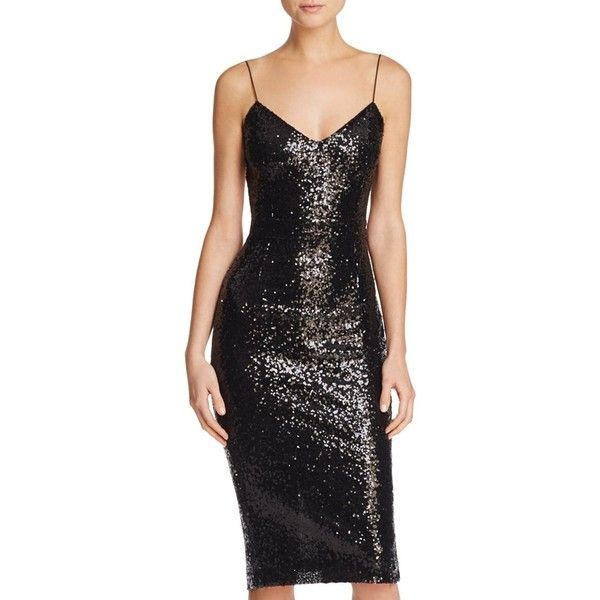 Rehab Backless Sequined Midi Dress ($37) ❤ liked on Polyvore featuring dresses, black, calf length dresses, midi cocktail dress, backless cocktail dresses, sequin cocktail dresses and shimmer dress