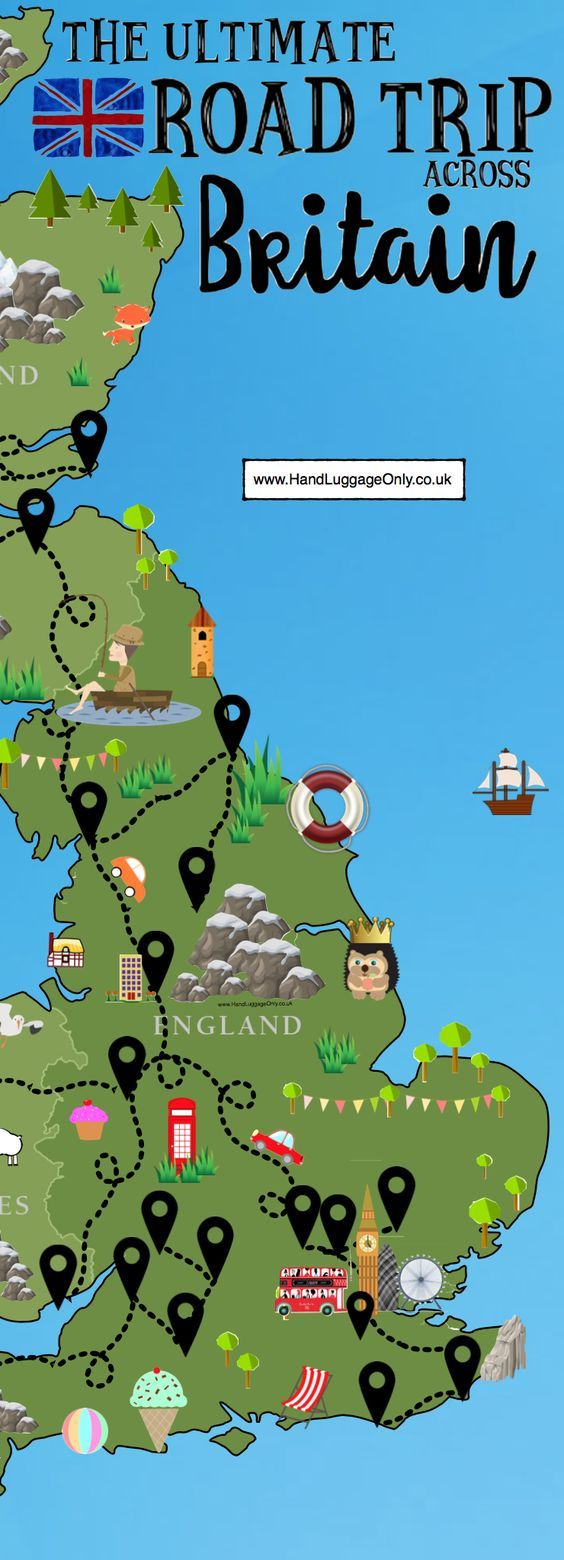 The Ultimate Road Trip Map of 26 Places To See Across Great Britain #roadtrips