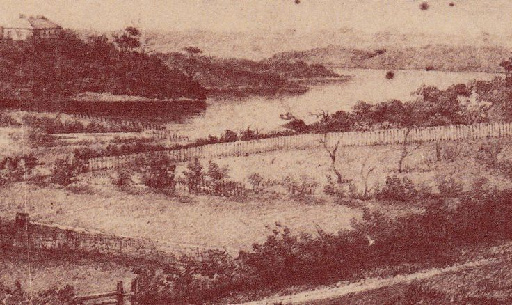 View from Blackwattle Bay from window of Ultimo House, by E. Manning 1837. Lyndhurst can be seen on the opposite hill. Blackwattle Bay was subsequently reclaimed and is now Wentworth Park.