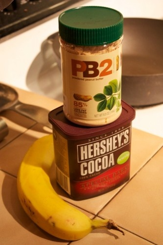 Healthy Chocolate Fudge (or pudding)  2 Tbsp. of PB2 (I'm sure regular peanut butter would work too), a half of a banana, and 2 Tbsp. of cocoa powder.