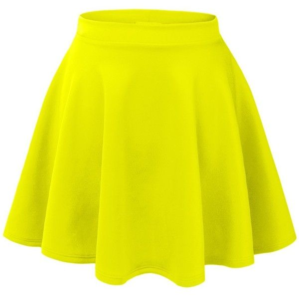 MBJ Womens Basic Versatile Stretchy Flared Skater Skirt ($6.89) ❤ liked on Polyvore featuring skirts, bottoms, saias, gonne, stretch skirt, flared skirt, yellow skirt, yellow skater skirt and circle skirt