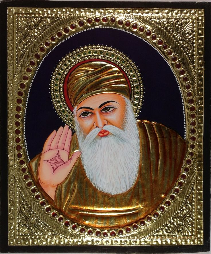 Tanjore Guru Nanak Painting. Your decor will bear a sophisticated and cultured look when adorned with this striking Tanjore painting featuring the founder of the Sikh religion, Guru Nanak.