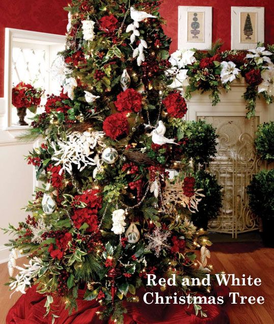 17 best images about christmas tree decorating themes on for Red and white christmas tree theme
