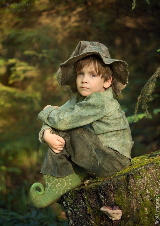 Купить Костюм Эльф - болотный, однотонный, валяние из шерсти, Мокрое валяние, эльф, костюм карнавальный