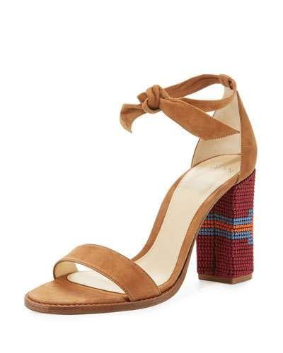 S0H7M Alexandre Birman Elisa Embroidered Block-Heel Sandal, Beige