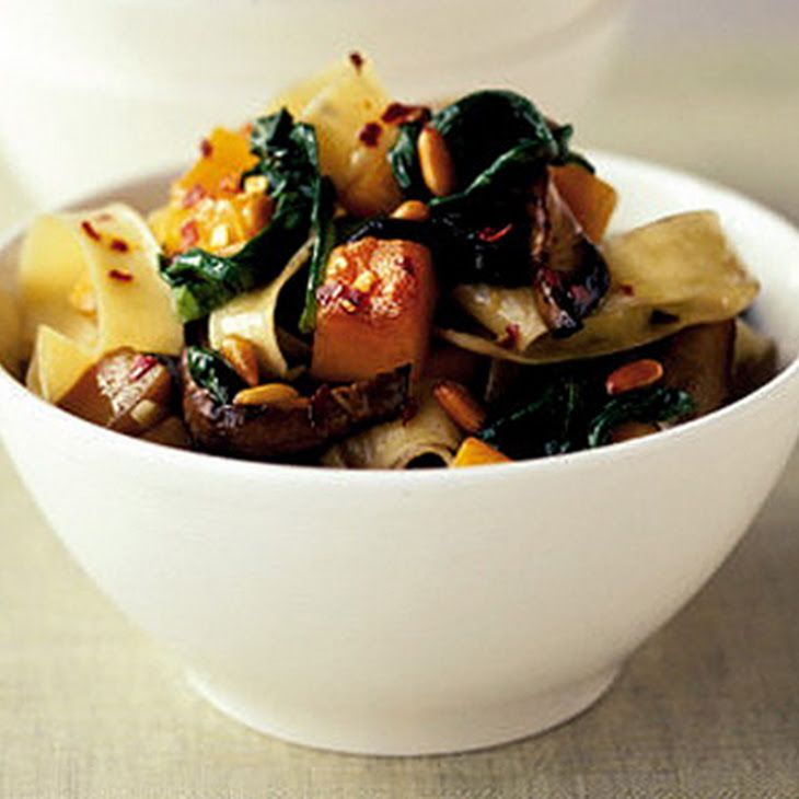 Vitality Veggie Pasta Recipe Main Dishes with pappardelle pasta, butternut squash, olive oil, pinenuts, garlic cloves, mushrooms, spinach, chili flakes
