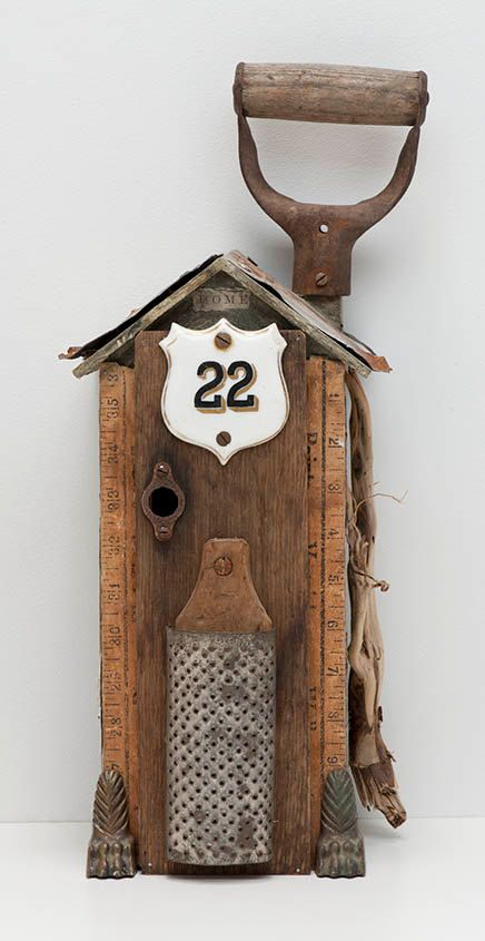 $119. The Old House- Mixed Media Assemblage - OOAK sculpture made from found objects