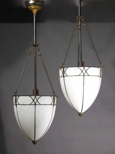 Netdrop Lighting Fixtures : Circa 1915, This is a very beautiful pair of Leaded Glass Tear Drop ...