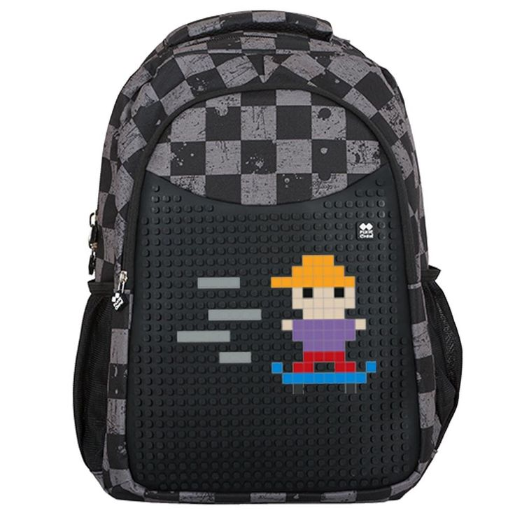 PIXIE CREW Student Backpack GREY CHEQUERED + Pencil Case SET - Student Backpacks - Backpacks  | Pixie Crew