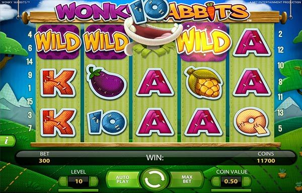 HAVE SOME WACKY FUN IN THE GARDEN WITH THE CRAZY RABBITS IN WONKY WABBITS ONLINE SLOTMACHINE!