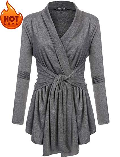 b97424547a ACEVOG Womens Open Front Classic Knit Travel Sweater Cardigan Dark Grey S   ad
