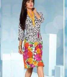 Buy Gorgeous Rayon Cotton Printed Multicoloured Stiched Fashion Kurtis party-wear-kurti online