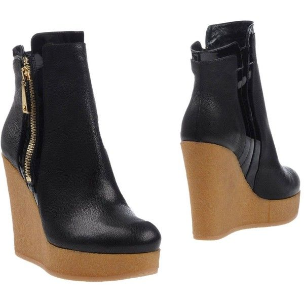 Hogan Ankle Boots ($501) ❤ liked on Polyvore featuring shoes, boots, ankle booties, black, ankle boots, wedge booties, black wedge ankle booties, leather ankle boots and leather booties