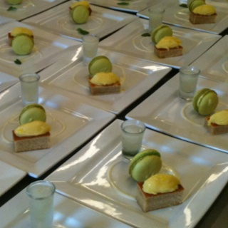 Olive oil cake, Lime Macaron, Mohito Sorbet