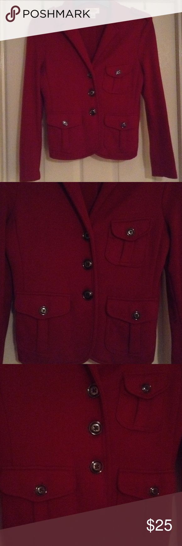 Red blazer Adorable deep red military style blazer with beautiful onyx color buttons by Talbots. Talbots Jackets & Coats Blazers