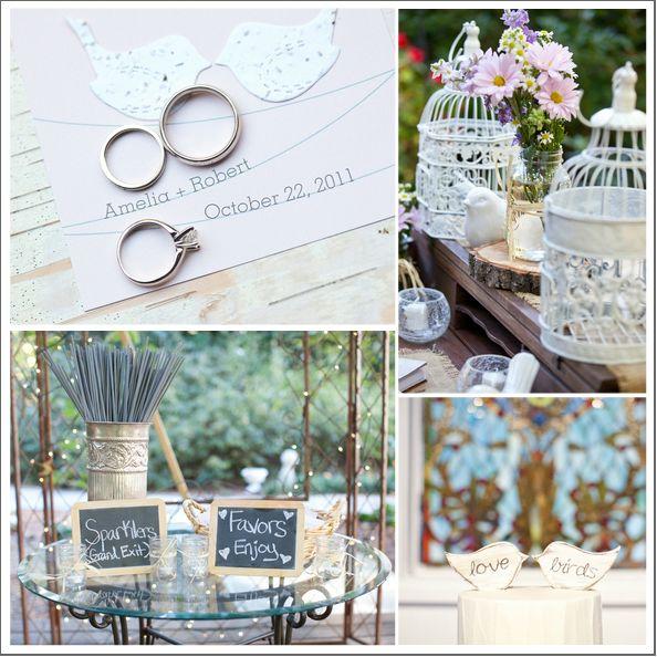 rings, love bird cake topper, white details