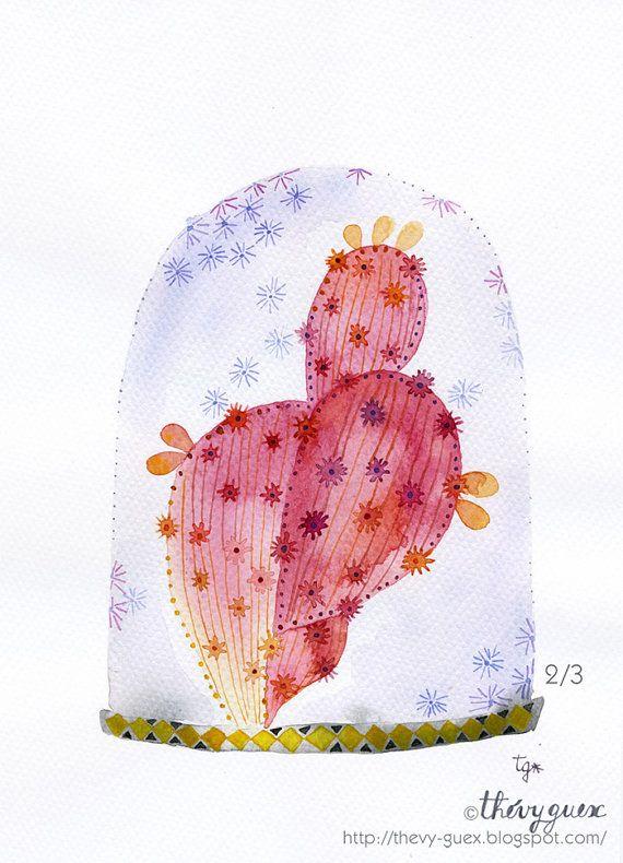 Original Watercolor Red Cactus Terrarium by thevysherbarium, $65.00