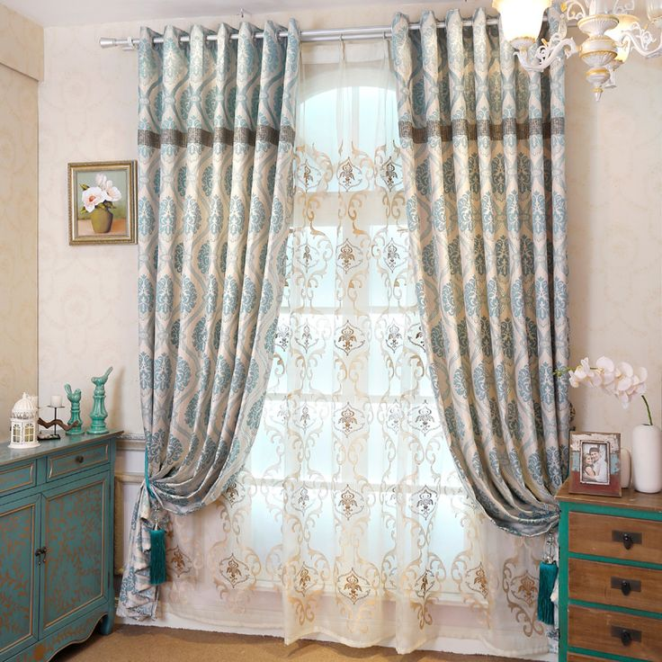 2017 New Curtains For Dining Living Bedroom Room European custom jacquard window shade curtain Mediterranean product #Affiliate