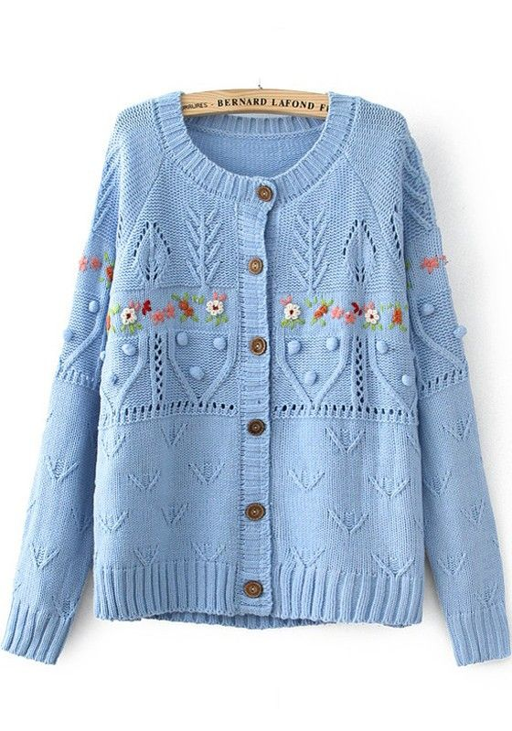 Blue Patchwork Embroidery Long Sleeve Sweater