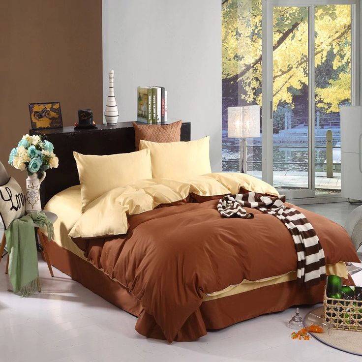 Two Plain Colors of 100 Percent Cotton Four-Piece Bedding Sets - COFFEE GOLD #beddingset #ad