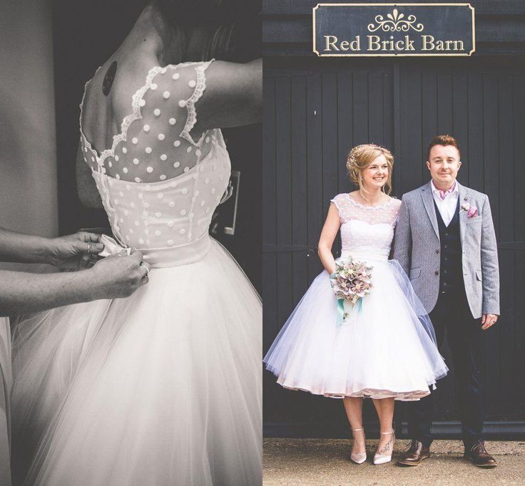 Fresh Cheap Vintage s Polka Dotted Wedding Dresses Sheer Scoop Neck Cap Sleeve Open Back Tulle Ball Gown A Line Tea Length Wedding Dresses Plus As Low As