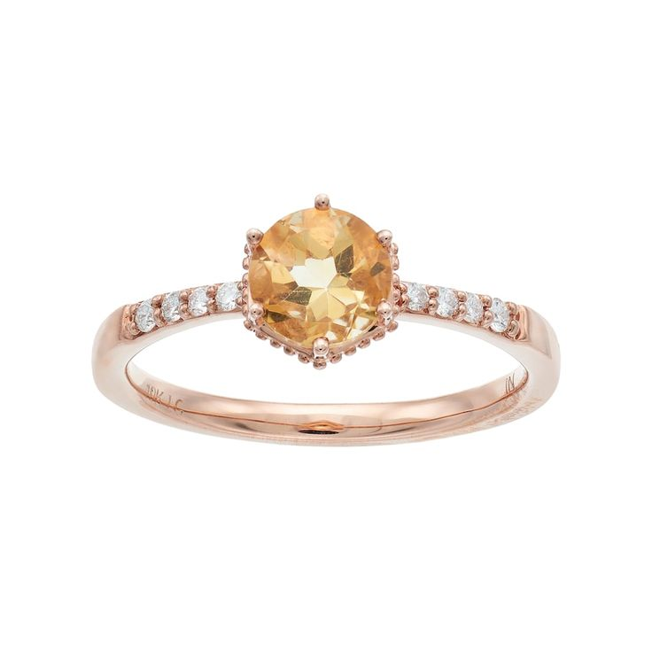 lc lauren conrad 10k rose gold citrine 110 carat tw diamond ring - Lauren Conrad Wedding Ring