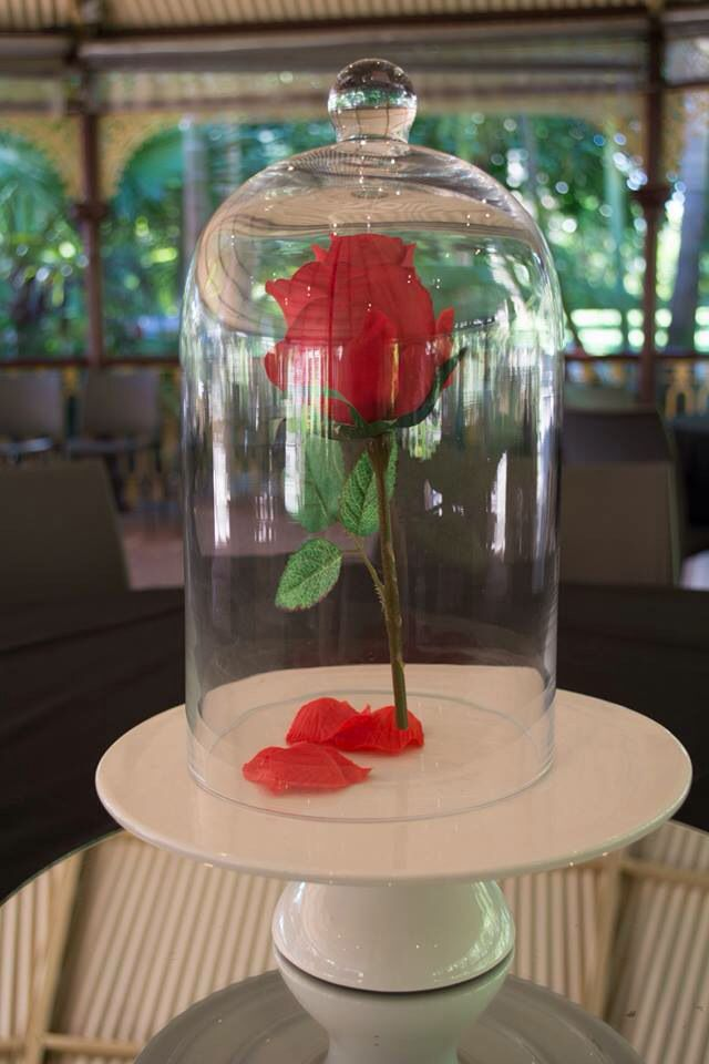 The enchanted rose. I got a glass bell jar and fake rose and used clear fishing line and attached it to the jar so the rose hangs in there
