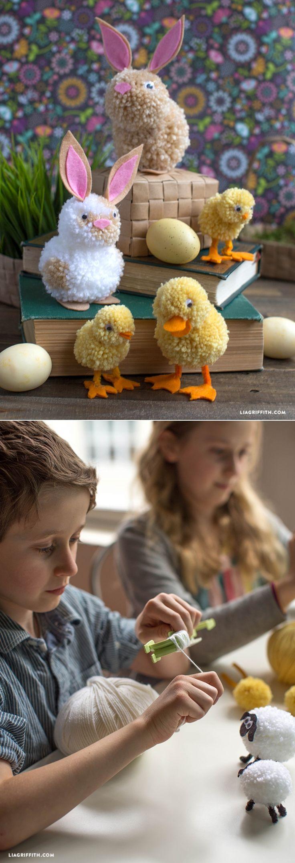 #YarnPomPom #Easter #KidsCraft www.LiaGriffith.com