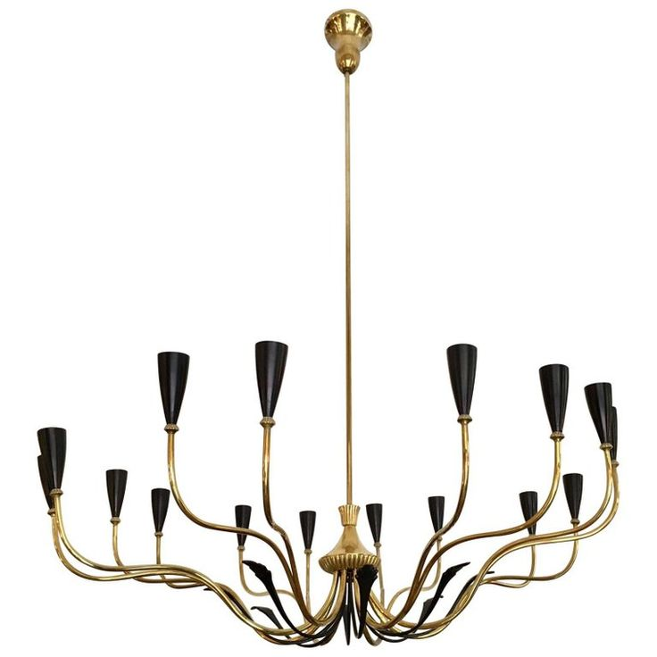 Pair of 1950s Italian Chandelier Oscar Torlasco Style | From a unique collection of antique and modern chandeliers and pendants at https://www.1stdibs.com/furniture/lighting/chandeliers-pendant-lights/
