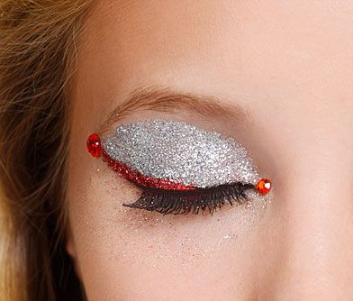 Fire and Ice Glitterbug makeup look - red and silver eye glitter with rhinestones