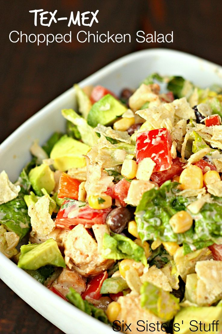 Tex-Mex Chopped Chicken Salad on SixSistersStuff.com - perfect for hot summer days! Topped with an easy homemade dressing.