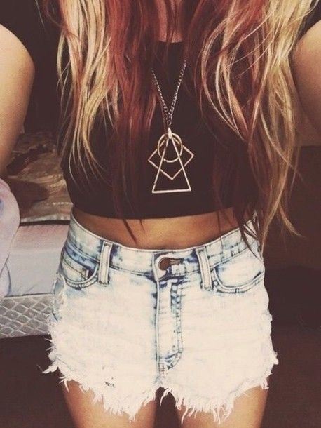 Jewels: geometric necklace cross necklace hipster high waisted shorts crop tops crop tops black hair