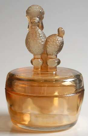 Powder jar (poodle) Jeannette glass company! Nana has the poodle and the deer! I've always loved them!