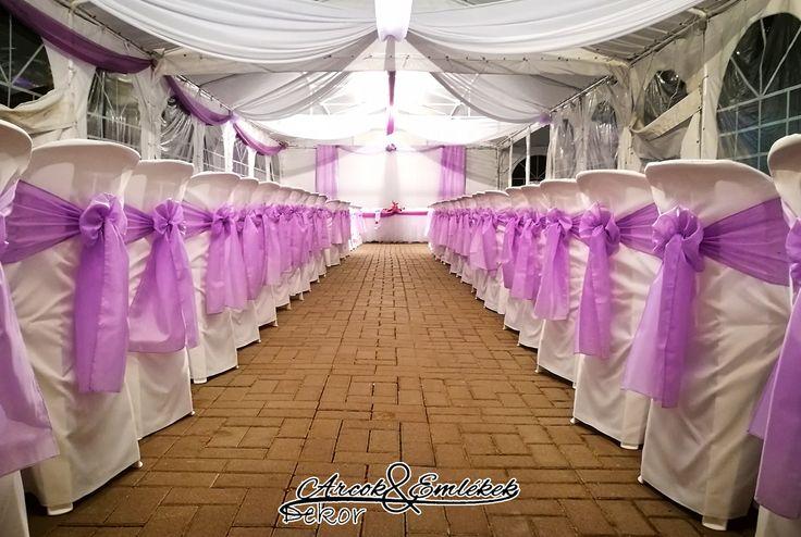 Esküvői dekoráció - levendula színben